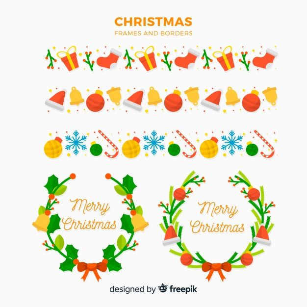 Flat christmas frames and borders collection Free Vector BEST FREE