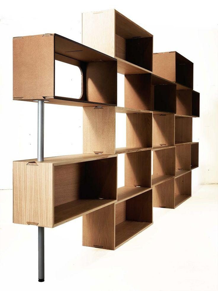 Sectional modular #bookcase MATTONI by Lessmore | #design Giorgio Caporaso @Linda Bruinenberg Draper more