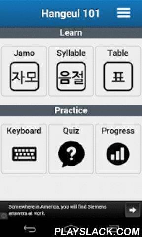 Hangeul 101 - Korean Alphabet  Android App - playslack.com ,  ******* News **************New SoundsMore Examples****************************Starting to learn Korean? This is the the most effective app for mastering Hangeul - Learn the Korean alphabet Hangeul ( Hangul ) with visual and verbal mnemonic. Learn alphabet and vocabulary words with romanization and audio pronunciation. Practice and track your learning progress with our smart quiz system. Features: - Total 40 letters from modern…