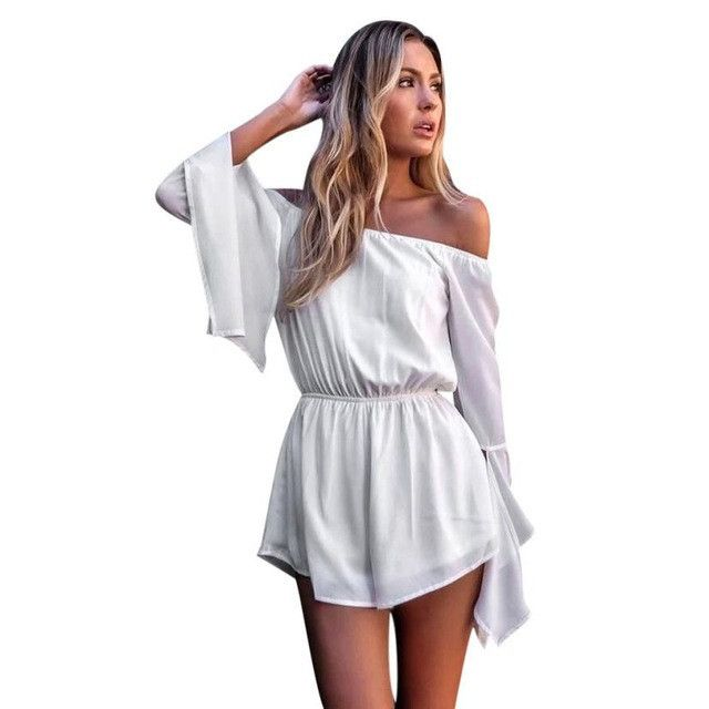Strapless Bodycon White Off Shoulder Flare Sleeve Party Romper
