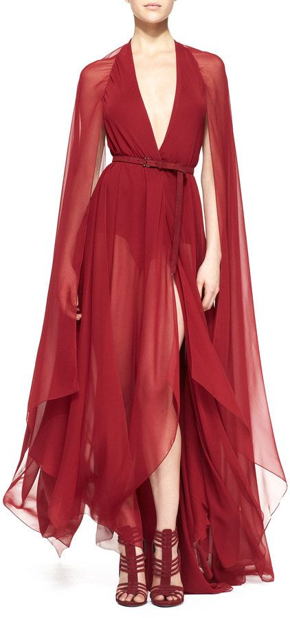 $3,595, Burgundy Chiffon Evening Dress: Donna Karan Belted Paneled Chiffon Evening Gown Ruby Red. Sold by Neiman Marcus. Click for more info: https://lookastic.com/women/shop_items/108415/redirect