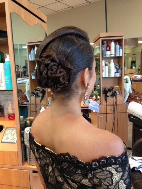 A beautiful bun by Olivier ; Model: Sonia Azad, TV field reporter on ABC13.