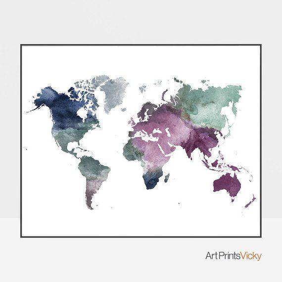 Eine Farbige Aquarell Weltkarte Poster Ist Eine Schone Hinzufugen