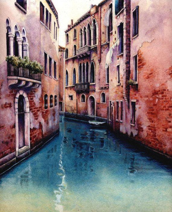 """Impresión del Canal de Venecia. 7.5 """"x 9,5"""" reproducción de la pintura de acuarela.  Paisaje veneciano. Pintura de Italia por Helen Lush"""