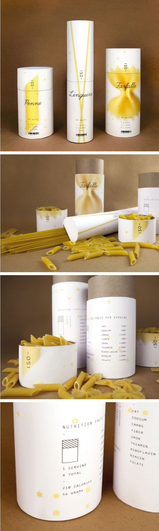 Very nice pasta packaging. The cylinder containers clearly show the various types of pasta in an artful way. The very simple design also goes along well with the simplicity of the uncooked pasta with a basic font and plain background. The packaging is simple, yet visually appealing and informative at a glance.