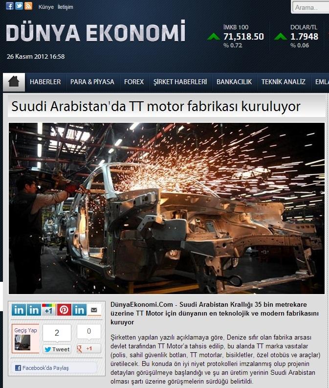 Suudi Arabistan'da TT motor fabrikası kuruluyor