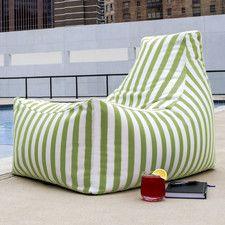 Juniper Outdoor Striped Bean Bag Chair