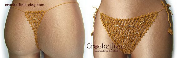 Sexy gold crochet thong with beads g-string lace by Crochetfield