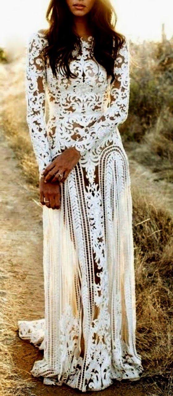 #Bohemian Style White Lace #Dress