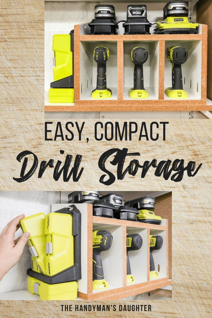 DIY Woodworking Ideas Keep all your drills, batteries and bits in one compact space! This DIY cordless...