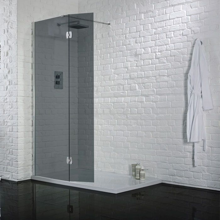 Aquadart Wetroom Panel With Return Smoked Glass 1500mm