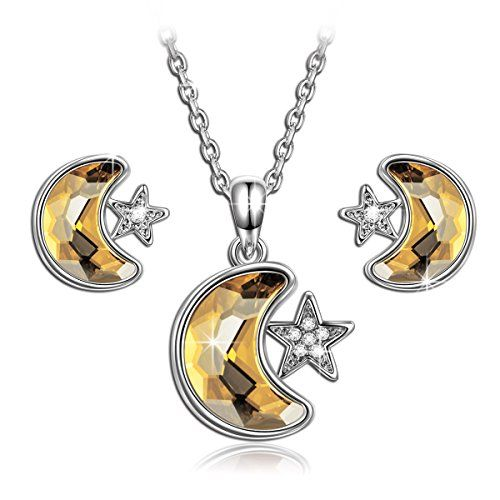 Qianse Star  Moon Pendant Necklace Stud Earrings Fashion Jewelry Set Made with SWAROVSKI Crystal * Check out the image by visiting the link.