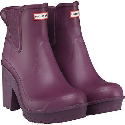 Bloque original púrpura para mujer Hunter Botas De Goma De Tacón Chelsea UK 7 Publica Gratis