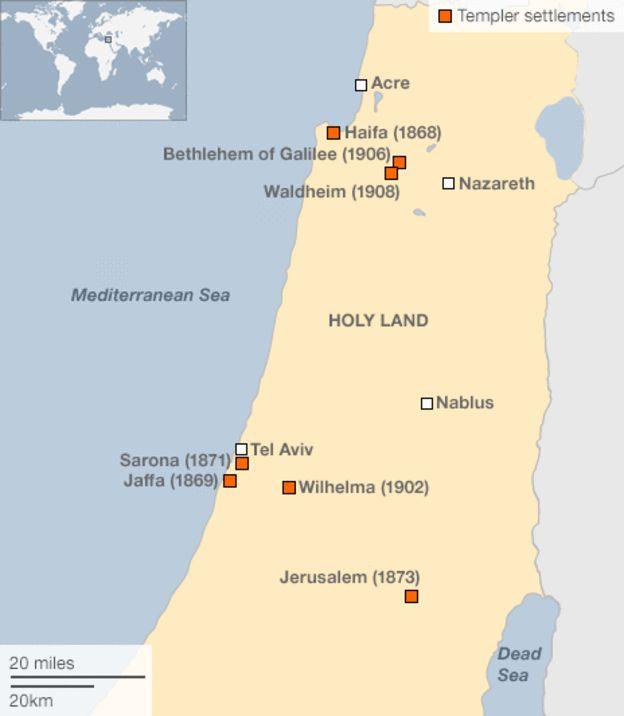 Map of Templer settlements