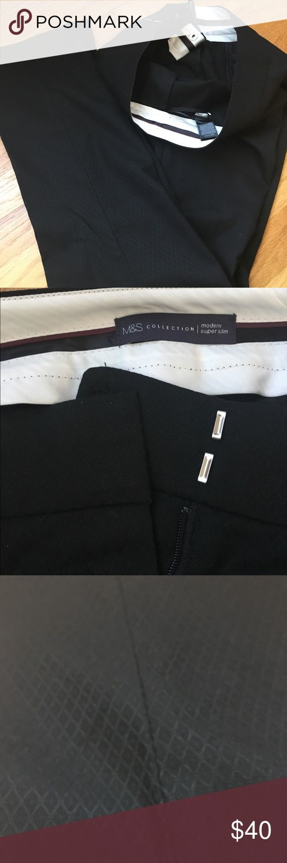 """Sophisticated black dress pants Nevertheless she persisted - and so will you in these beautiful 'super slim' dress pants. Diamond pattern (see picture). 🇬🇧12 🇺🇸8. Measurements: waist 16.5"""". Inseam 30.5"""". Marks & Spencer Pants Trousers"""