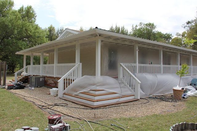 Dreamy double wide wrap around porches decks and front for How to build a front porch on a mobile home