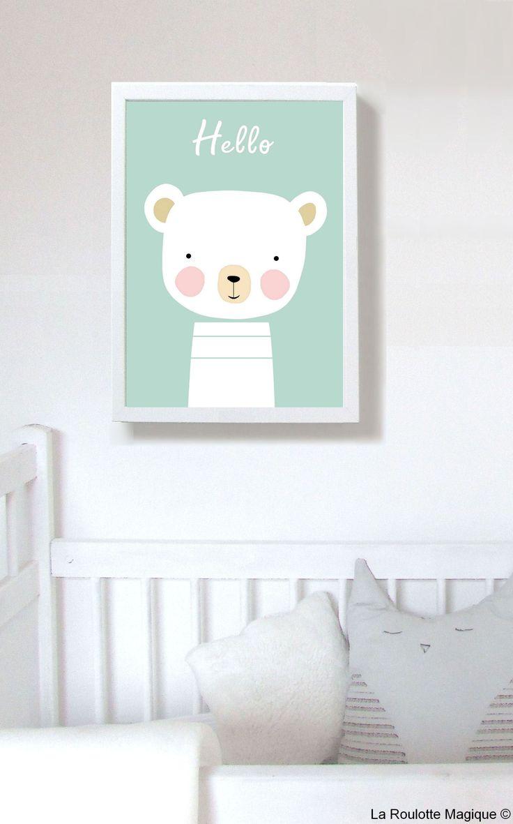 """Affiche """"Hello"""" / Décoration pour enfants / La Roulotte Magique https://www.etsy.com/fr/shop/LaRoulotteMagique"""