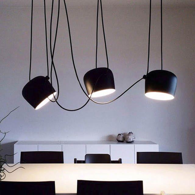 Modern Black Drum Pendant Light Led Aluminum Hanging Lamp Living