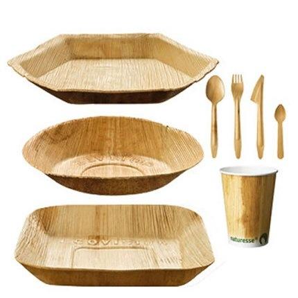 Kit pour pique-nique avec de la vaisselle en palmier, Nature & Découvertes