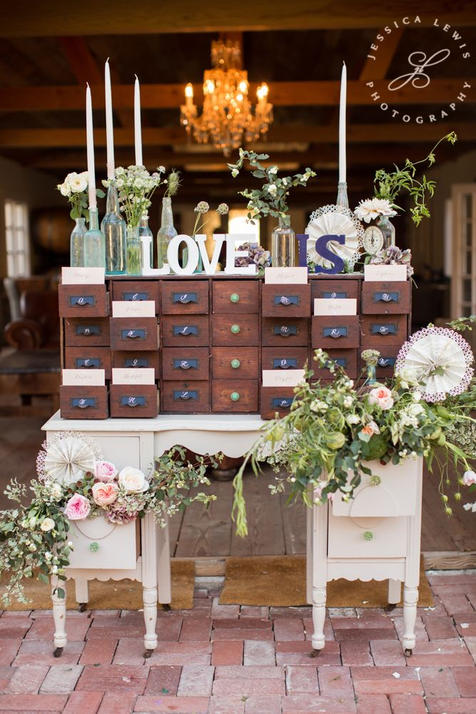 Love this library cabinet for escort cards