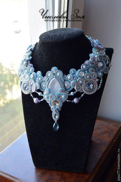 """Купить комплект украшений из сутажа """"По тонкому льду..."""" - голубой, для невесты, сутажная техника"""