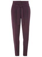 Womens **Tall Purple Paper Bag Tie Waist Trousers- Purple