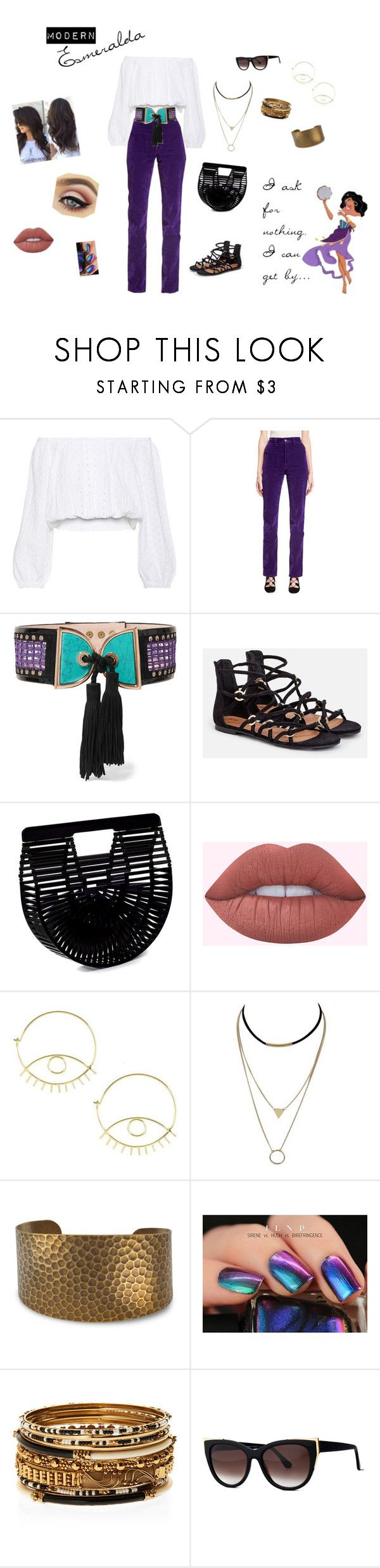 """""""Modern Esmeralda- Everyday look"""" by polishedpixie on Polyvore featuring Melissa Odabash, Marc Jacobs, Balmain, JustFab, Cult Gaia, Hush, Amrita Singh, Thierry Lasry and modern"""