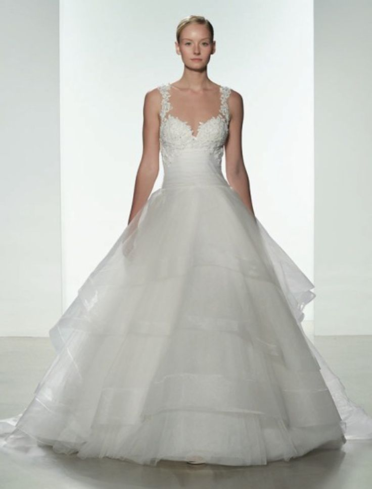 This Kenneth Pool Polina K483 wedding dress will make you feel like a princess. Wait until you see the back of this gown! The sheer design the so elegant