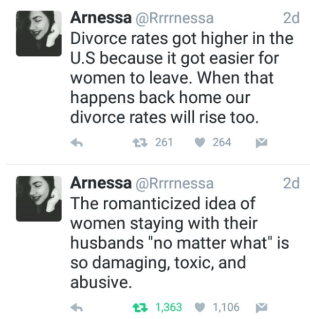 Arnessa on US divorce rates