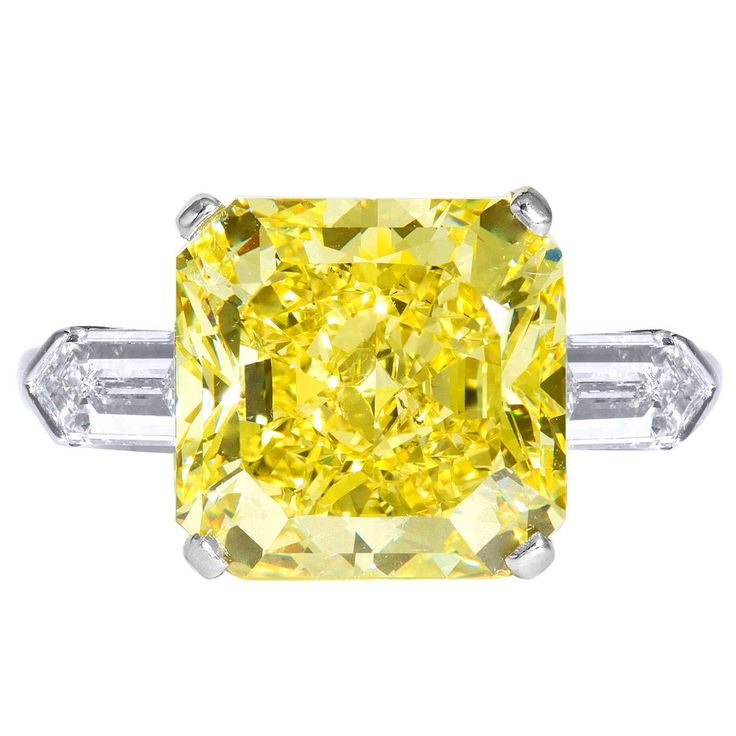 9.05 Carat GIA Cert Fancy Intense Yellow Diamond Platinum Engagement Ring | From a unique collection of vintage engagement rings at https://www.1stdibs.com/jewelry/rings/engagement-rings/