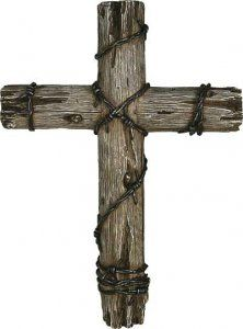 "Western Barbed Wire 14"" Wood Look Decorative Cross"