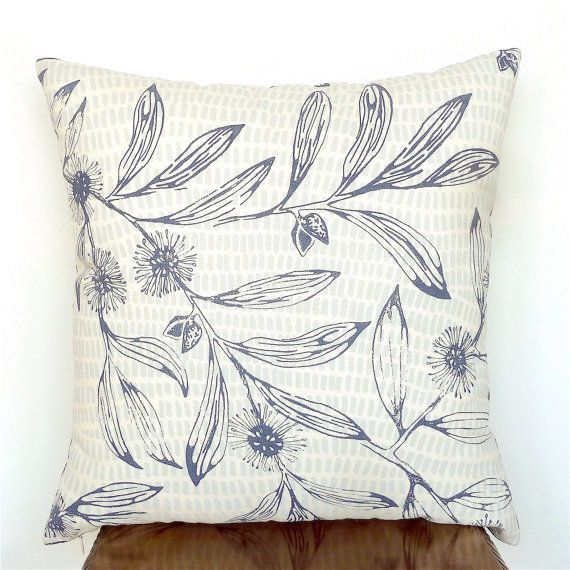 Australian Floral Cushion Cover. Dark Blue and Cream by OnHighat5
