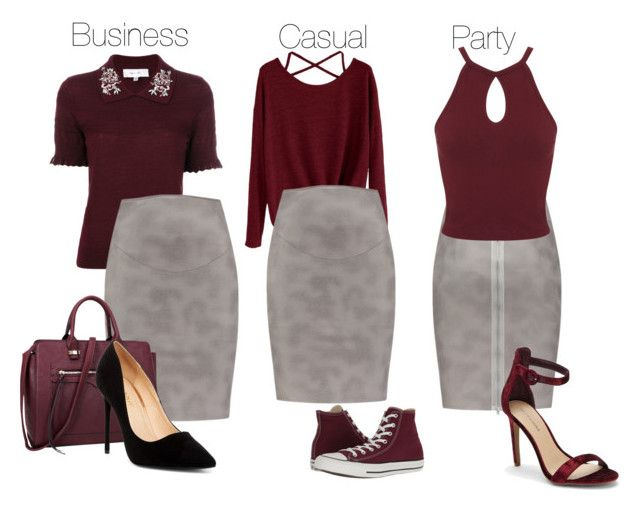 Grey & Burgundy by tubino-skirts-dresses on Polyvore featuring mode, Carven, Miss Selfridge, Converse, Saks Fifth Avenue, Liliana and Dasein
