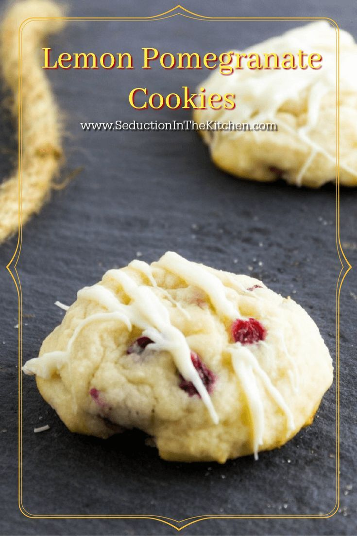 Lemon Pomegranate Cookies are a delightful cookie that is sinful with the white chocolate drizzle on it. One bite and you will be in love. A recipe from Seduction in the Kitchen.
