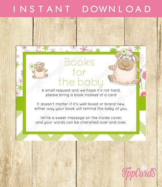 Instant Download Green Lamb Book Request Mint Lamb Book in Lieu of Card Gender Neutral Little Lamb Baby Shower Book Instead of Card by TppCardS #tppcards