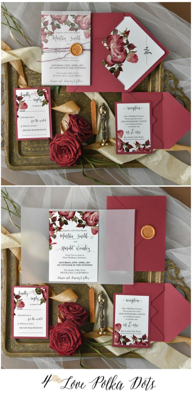 Burgundy elegant wedding invitationwith roses 4lovepolkadots #sponsored