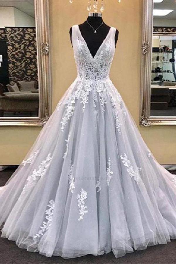 V Neckweddingdresses In 2020 Prom Dresses Ball Gown Long Prom Dresses Uk Silver Prom Dress