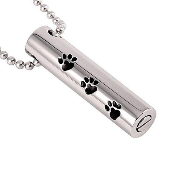 Ataúd etcétera perro pata cilindro joyería de cremación para
