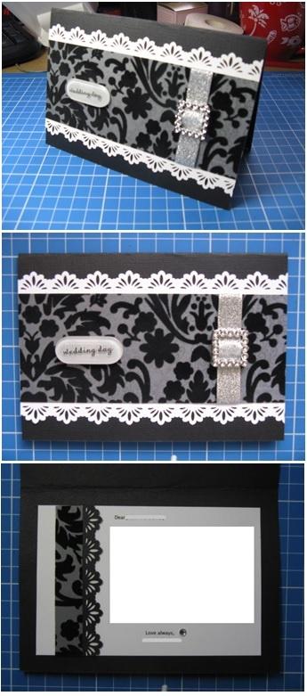 Black & white handmade wedding card - Han-crafted (c)