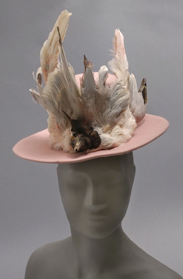 Woman's hat | Paris, 1945 | Designed by Rose Valois (French, active ca. 1927-1972) | Materials: pink wool felt, pink silk velvet ribbon, feathers | Philadelphia Museum of Art