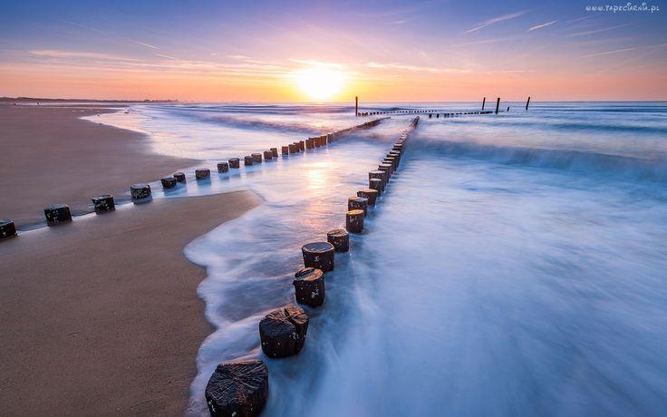 Zachód, Słońca, Morze, Plaża