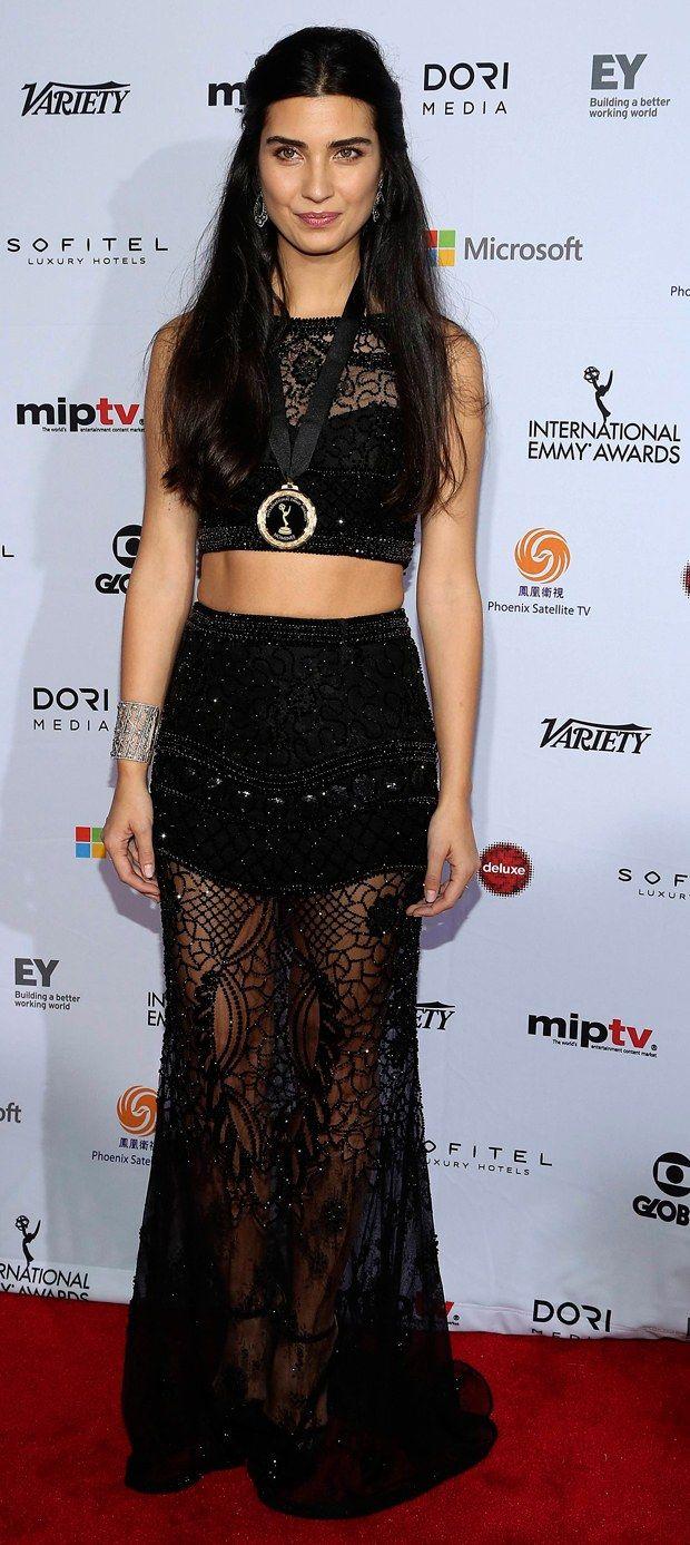TUBA BÜYÜKÜSTÜN || Turkish actress Tuba Büyüküstün in Emmy  Awards || Turkish celebrity, dark hair, brunette, stylish black dress with lace, woman.