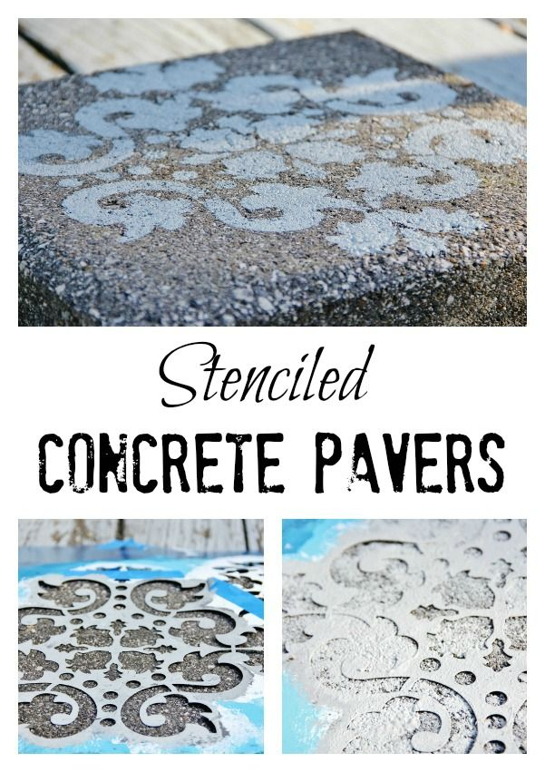 Easy project for outside.  How to.....stenciled concrete pavers…