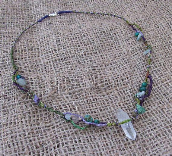 Hand Dyed Macrame Crystal Necklace Quartz by tinkertailoruk