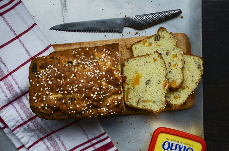 Olivio's Apricot Nut Bread made with Olivio and the goodness of Mediterranean Olive Oil. Pearl sugar garnish. Healthy, easy and a wonderful gift for the holidays. Global knives make slicing easy!