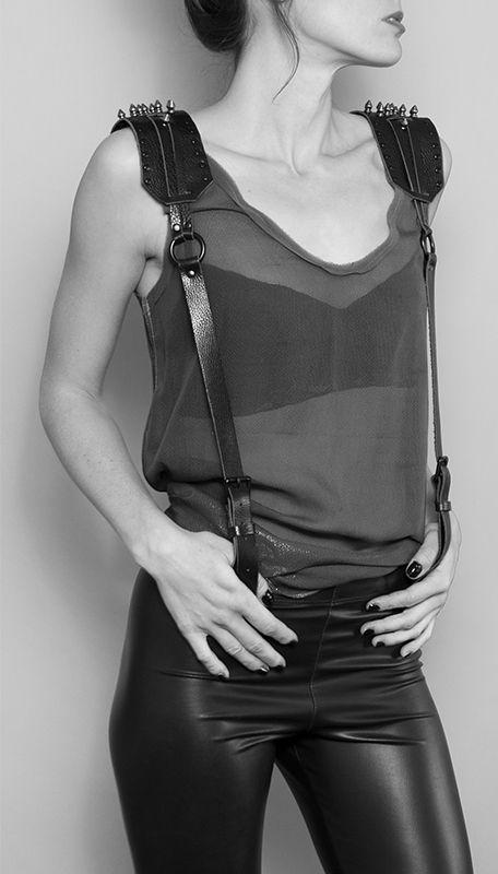 fringe harness belt   ares suspenders