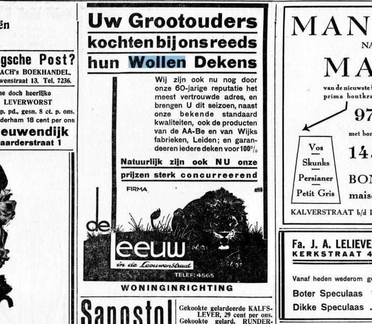 Historische Kranten - actualiteiten uit het verleden: Uw grootouders kochten reeds bij ons hun Wollen Dekens, De Gooi- en Eemlander, 10 september 1937