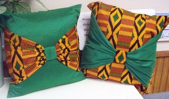 Kwanzaa Sale reg 35 - Kente Bow Mandara Mountains Throw Pillows Decorative Cushions African American. $25.00, via Etsy.