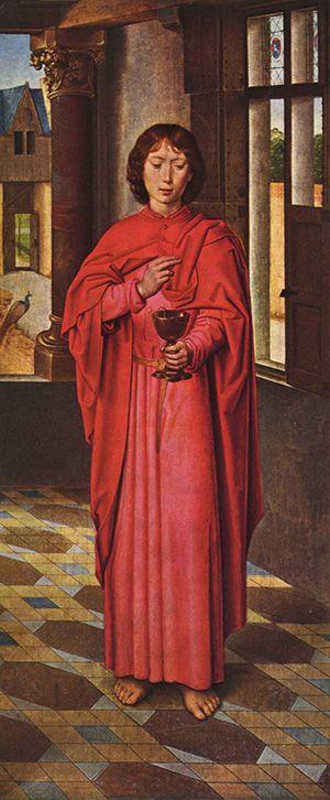 "Saint of the Day – 27 December – St John APOSTLE/ EVANGELIST/Writer, teacher, Priest,Theologian – (c 6-c 100) ""The Beloved Apostle; Apostle of Charity; Beloved Disciple; Giovanni Evangelista;  John the Divine;  John the Evangelist; John the Theologian- Patron of  love, loyalty, ...."