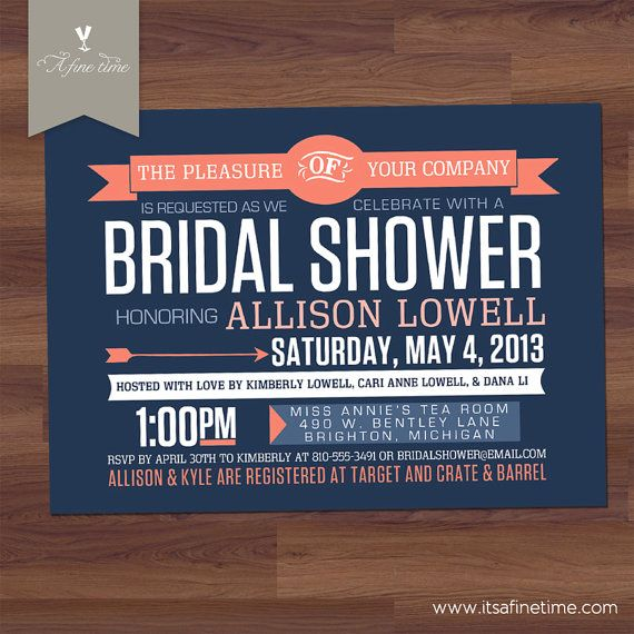 154 best navy and coral wedding images on pinterest wedding bridal shower invitation retro contemporary modern poster denim navy filmwisefo Image collections